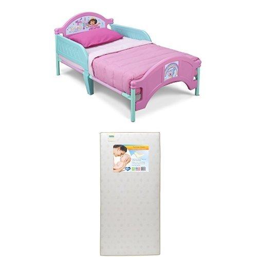 Delta Children Plastic Toddler Bed, Nick Jr. Dora The Explorer  with Twinkle Stars Crib & Toddler Mattress