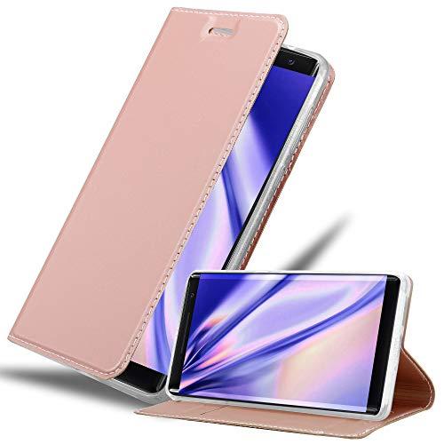 Cadorabo Hülle für Nokia 8 Sirocco in Classy ROSÉ Gold - Handyhülle mit Magnetverschluss, Standfunktion & Kartenfach - Hülle Cover Schutzhülle Etui Tasche Book Klapp Style