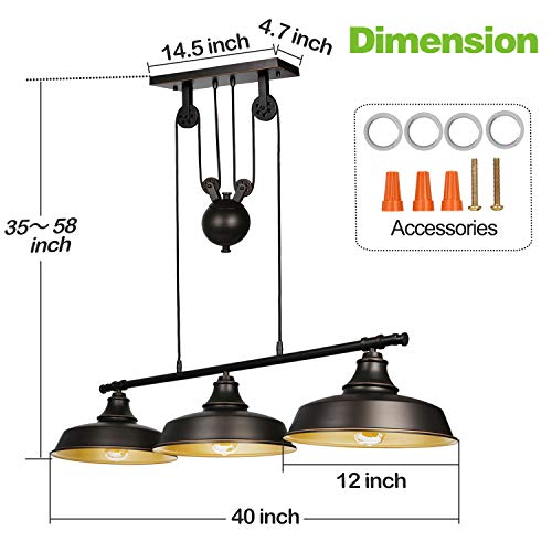 3-Light Pulley Pendant Lighting, Adjustable Kitchen Island Lights, Farmhouse Vintage Ceiling Light Fixtures, Oil Rubbed Bronze/Bronze, ETL Listed