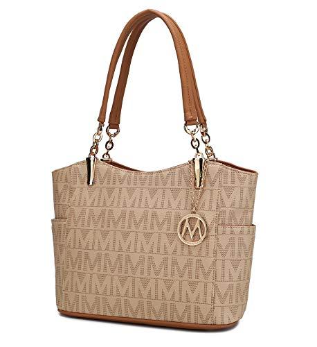 Mia K Collection Shoulder Handbag for Women: Vegan Leather Satchel-Tote Bag, Top-Handle Purse, Ladies Pocketbook Beige