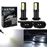 KaTur 881 LED Fog Light Bulbs Extremely Bright 2400 Lumens Max 75W High Power LED for Daytime Running Light DRL or Fog Lights, Xenon White (881 White)
