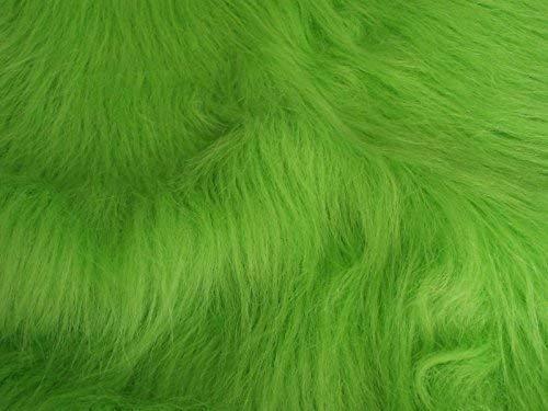 Long Pile Fun Faux Fur Fabric Material - Lime Green
