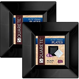 Squarete 10.75'' inch Black Dinner Square Party Plates Hard Plastic Elegant Disposable Heavy Duty. 10 Square Dinner Plates Per Package Pack of 2