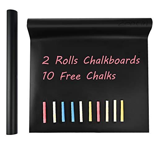 Tafelfolie selbstklebend Nabance 2 Rolle Selbstklebende Tafelfolie inklusive 10 Kreiden für Zuhause Büro DIY Deko Präsentation, schwarz (2 Rolle 43x200 cm)
