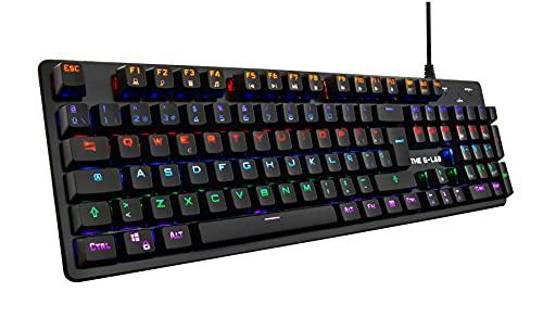THE G-LAB Keyz CARBON V3 Teclado Mecánico Gaming de Alta Precisión – Interruptores Azules, Retroiluminación Multicolor LED, Total Anti-Ghosting – Compatible para PC/PS4/PS5/Xbox One/Xbox Serie