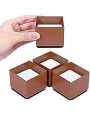 AIRUJIA 3 cm lift meubelstandaard, bedverhoging, diameter 6 cm, allround bescherming, krachtige meubelliften verhogen de hoogte van de bedden met 3 cm, bankkasten ondersteunen 20.000 lbs bruin, vierkant