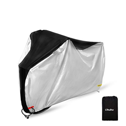 Ohuhu Funda impermeable para bicicleta, 210T extra resistente, impermeable, antipolvo, lluvia, protección UV, para bicicleta de montaña, bicicleta de carretera, Silver&Black