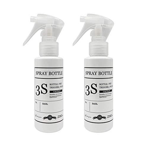 スリーエス 柔らかミストを噴霧する コンパクトノズル スプレーボトル 霧吹き 容器 ホワイト きれいに剥がせるラベル付き 100ML 2本セット