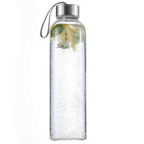 HTUK® Confezione da 1 bottiglie sportive per l'acqua, in vetro, 500 ml, con anello per trasporto, senza BPA, portatile, ecologica, anti-goccia, design elegante