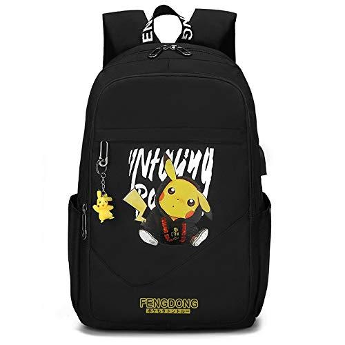 Csfssd Bolsa de estudiantes de secundaria masculina hombro bolso de la computadora deportes puerto USB de gran capacidad animado mochila mochila de campamento, escuela, viajes, senderismo mochila lumi