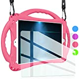 iPad Air 2 Case for Kids,TopEsct Shockproof Silicone Handle Stand Case Cover&(Tempered Glass Screen Protector) for iPad Air 2 and iPad Pro 9.7 (Pink)