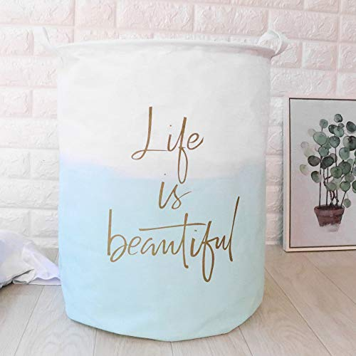 FILOL Clothes Laundry Hamper Storage BinLife is Beautiful Slogan Large Collapsible Storage Basket Canvas Laundry Basket for Home Bedroom Nursery Room