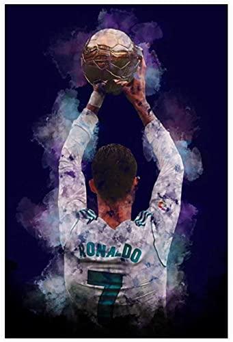 Iooie Leinwand Druck Poster Ronaldo Fußball-Football-Spieler-Bild für die Familiendekoration Wandkunst Kunstwerk Malerei Kunstdrucke Bild 19.7