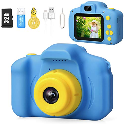 Desuccus Kids Camera HD 1080p Video Selfie Digital Camera for Kids Best Birthday Gift for 3-8 Years Old Boys and Girls Toddler Video Record Camera with 32GB SD Card 2.0 Inch IPS Screen 5 Puzzle Games