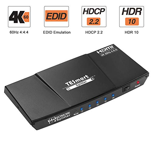 TESmart HDMI Splitter 4K 2.0 Certificado, HDMI Duplicador 1 Entrada 4 Salidas, Splitter HDMI 1 a 4 Amplificador Switch Box Hub Alimentado con Ultra HD 4K@60Hz 4:4:4 con Soporte EDID (Negro)…
