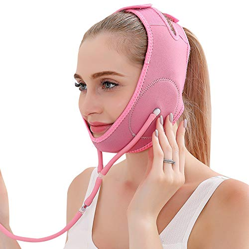 Facial Lifting Slimming Belt Opblaasbare V-Line Masker Neck Compression dubbele kin riem Weight Loss Riemen,Pink