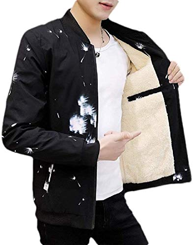 Men Print Zip-Up Classic Outerwear Windbreaker Fleece Lined Jacket Coat,2,X-Large