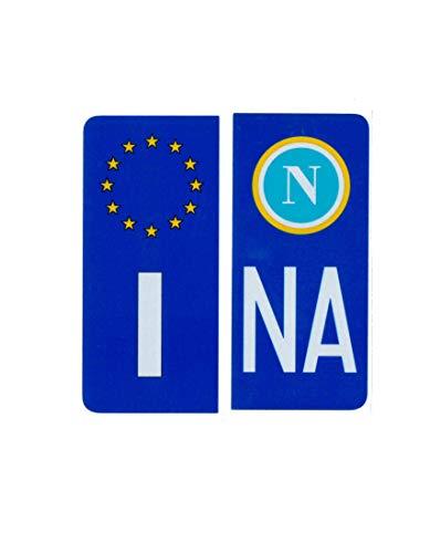 ADESIVI PER TARGA AUTO EUROPEA BLU CON SIMBOLO NAPOLI CALCIO - RIFRANGENTE