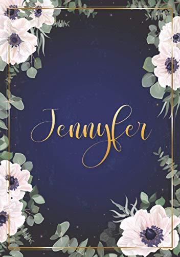 Jennyfer: Cuaderno de notas A5 | Nombre personalizado Jennyfer | Regalo de cumpleaños para la esposa, mamá, hermana, hija .. | Diseño : flores | 120 páginas rayadas, formato A5 (14.8 x 21 cm)