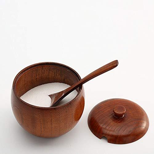 XGQ Vintage Creativo Wood Especia de Cocina Tarro, Tipo: salero + Cuchara