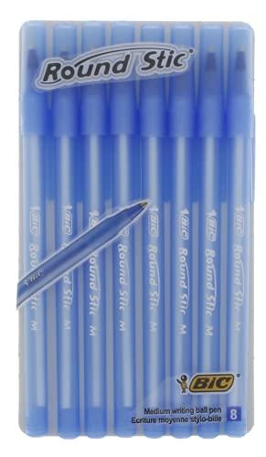 Bic Round Stic Kugelschreiber, Strichstärke, Blau, 8 Stück