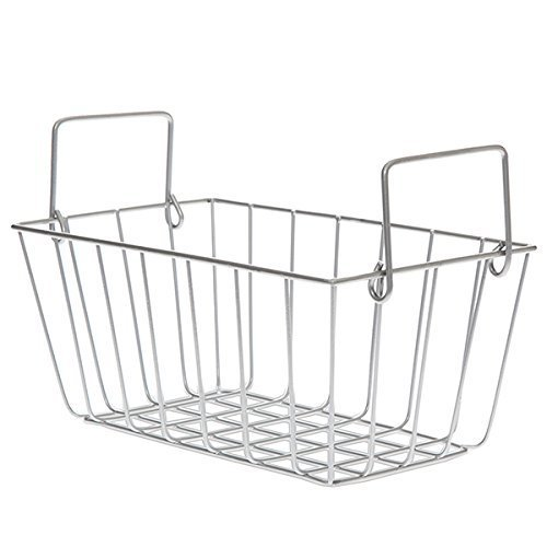 The Lucky Clover Trading Rectangular Wire Swing Handle, White Basket
