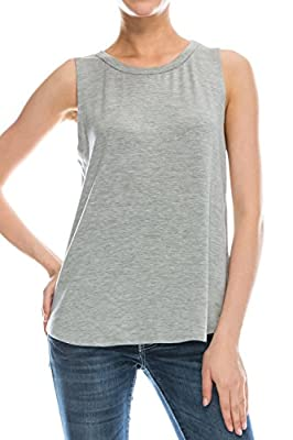 Flowy Relaxed Cool womens tank tops loose fit: Workout Rayon Knit Jersey Regular and Plus Size HGray XL