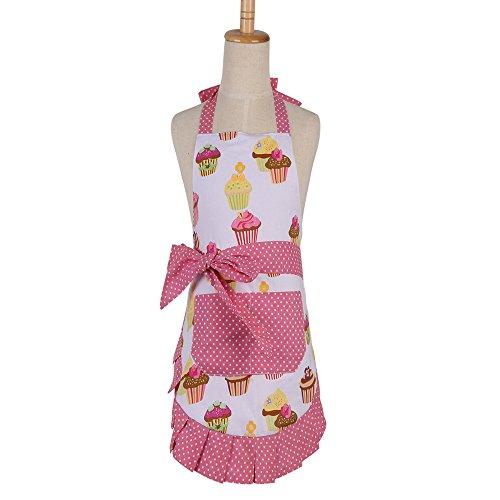 G2PLUS Schön Frau Schürze, Baumwolle Blumenmuster Küchenschürze, Modische Apron mit Taschen zum Kochen oder Backen