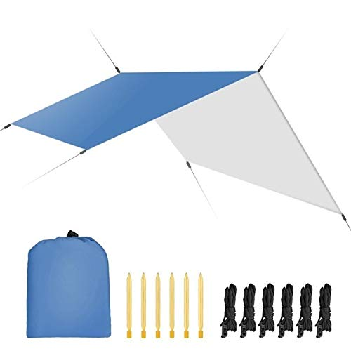 FEIYI Outdoor Portable Tent 3mx3m Waterproof Sun Shelter Tent Tarp Anti UV Beach Tent Shade Outdoor Camping Hammock Rain Fly Camping Sunshade Awning Canopy Beach Camping Tent (Color : Blue)