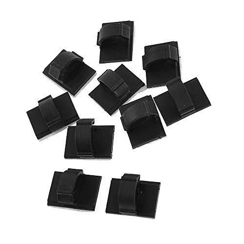 Hangqiao selbstklebende Kabelhalter, 10 mm, Krawatten-Clips aus Kunststoff, rechteckig, zum Organisieren von Auto-Kabeln, 10 Stück
