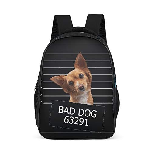 Classic Bad Dog Kids mochila con cierre de cremallera – mochila casual para niños y parrillas Gris brillante. talla única