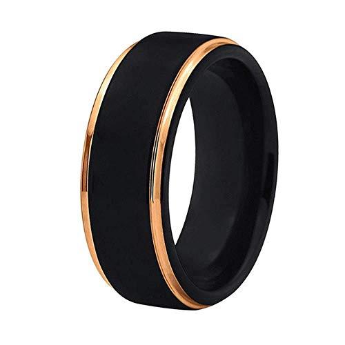 NoNo WL Ringe für 8mm Echt Wolfram Hartmetall Ringe für Männer Frauen Black Matte Fertig mit Gelb Gold Kanten Überzogene Komfort Fit Hochzeit Band