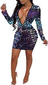 Aro Lora Women's Deep V Neck Long Sleeve Sequin Bodycon Party Mini Dresses Clubwear