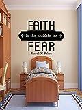 Faith Wall Adhesivos divertidos de vinilo con cita en inglés 'Faith is the antídoto for Fear', adhesivo religioso cristiano, decoración del hogar espiritual, regalo de Navidad