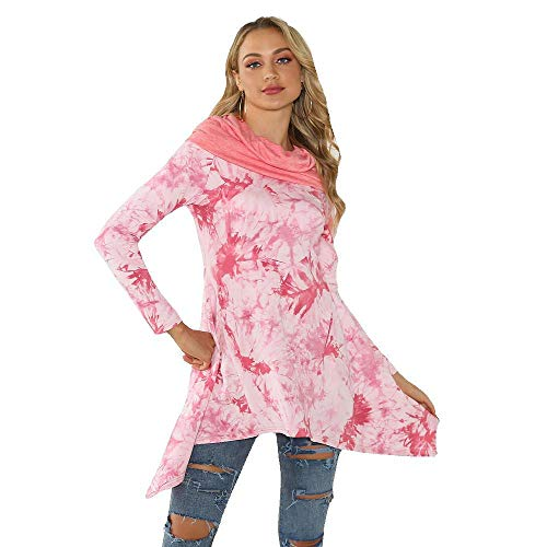 Jejhmy Conjunto Informal de 7 Piezas, Manga, Pila, teñido Anudado, con Capucha, Camiseta Suelta para Mujer, XL, Rosa,Suéter para Mujer,Pullover suéter para Mujer