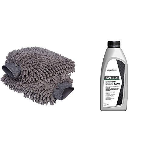 AmazonBasics - Guanto Deluxe in microfibra per la pulizia dell'auto, Confezione da 2 & Olio motore 5W-40 TypVR, 1 L