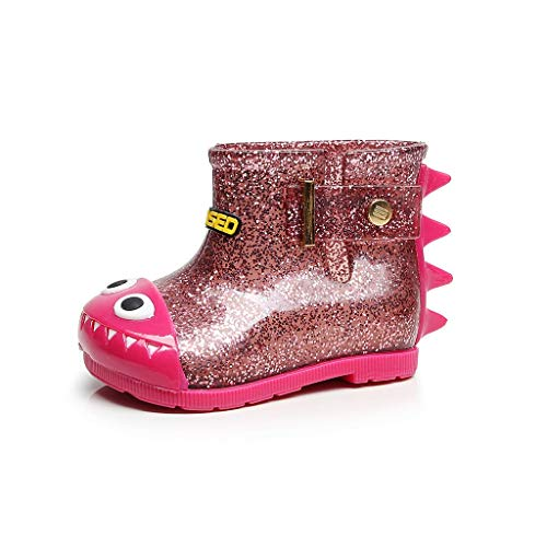 HDUFGJ Kinder federleichte Gummistiefel Dinosaurier Regenstiefel rutschfeste Bequem Leichtgewicht Laufschuhe Faule Schuhe Turnschuhe fitnessschuhe27 EU(Pink)