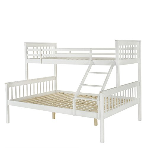 Tuff Concept Panana 3 Sleeper White Pine Wood Triple Bunk Bed Double+Single Size Upper and Lower Bed