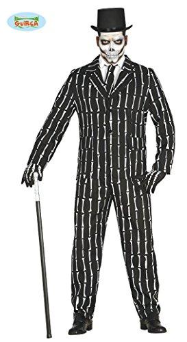 Knochen Anzug Halloween Kostüm für Herren Halloweenkostüm Herrenkostüm Sakko Hose Skelett Suit mit Krawatte Gr. M-L, Größe:M
