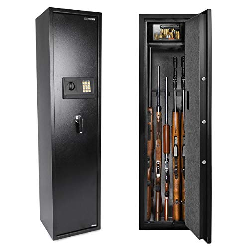 Electronic Rifle Safe with Silent Mode, Quick Access Large Metal Gun Cabinets with 5 Rifle (with/without Scope) Shelves and Ammo Storage Box for Home| Double Unlock | 3 Layer Lock| Security Alert