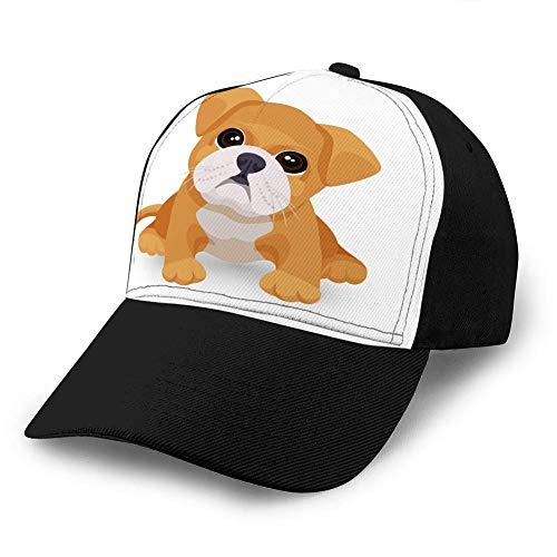 Baseballkappe, klassisch, verstellbar, Bulldogge, für Welpen, niedliches Spielzeug in Weiß und Beige