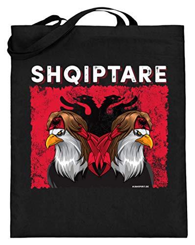 ALBASPIRIT Shqiptare Albaner Wappen Albanischer Adler Albanerin Albanien Flagge - Jutebeutel (mit langen Henkeln) -38cm-42cm-Schwarz