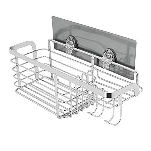Badkamerrekplank, badkamerplank Wandgemonteerde roestvrijstalen badkamerplank met haken, geen boorsporen Lijm Multifunctioneel, zeepbakjesrekken, 28,3x9,7x9,8cm