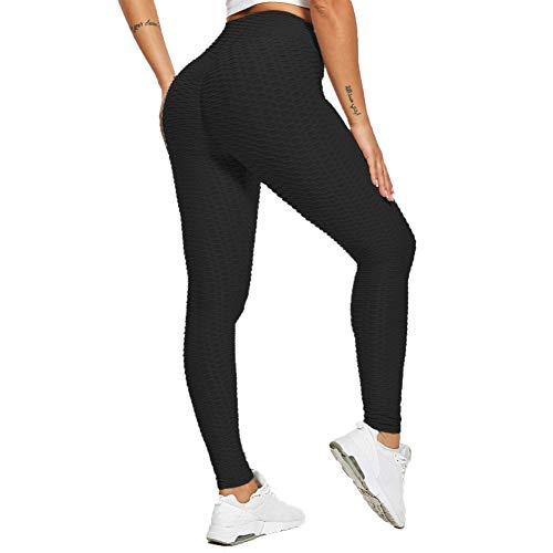 SotRong Fruncidos Mallas Deportivas Mujer Sin Costura Leggins Yoga Deporte para Running Pilates Fitness Negro S