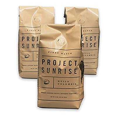 First Watch Ground Coffee - Project Sunrise - 3 Count of 12 oz. Bags / Medium Roast / Single Origin / Specialty Grade / Purpose Driven