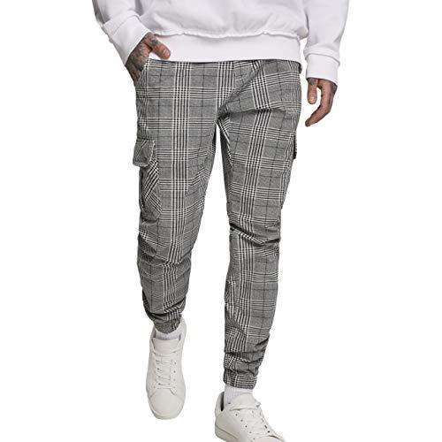 Urban Classics Herren AOP Glencheck Cargo Jog Pants Hose, Mehrfarbig (White/Black 01248), W(Herstellergröße: M)