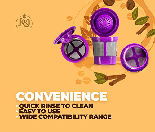 K&J Reusable K-Cups Compatible with Keurig 1.0 & 2.0 Machines (4-Pack) - Fits Most Keurig K-Cup Brewers (see full list)