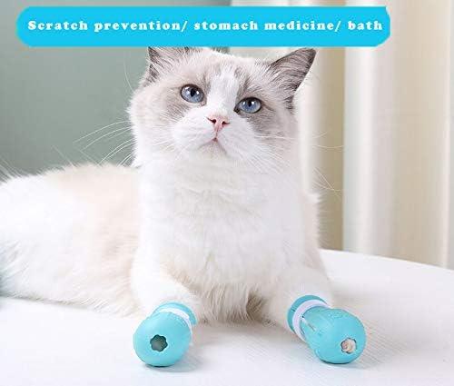 GazyyShop 4 bottes anti-rayures pour pieds de chat, beauté en silicone et couvre-pieds de bain doux, chaussures de protection réglables pour griffes de chat, adaptées au bain à domicile (bleu)