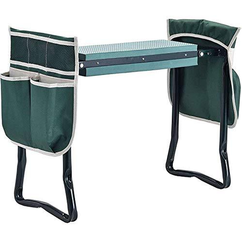Garten Kniebank Tragbarer Gartenwerkzeug, Mit 2 Anhängbaren Werkzeugtaschen Und Eva-Schaumkissen Einfache Lagerung Leicht Und Praktisch Für Garten-A-Grün