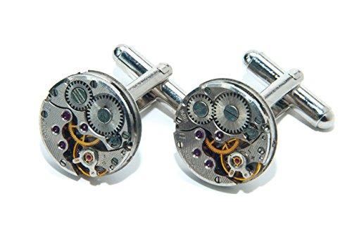 Jeff Jeffers Handmade Boutons de manchette ronds en forme de mécanisme de montre Style Steampunk Pour homme/mariage Argenté 15 mm
